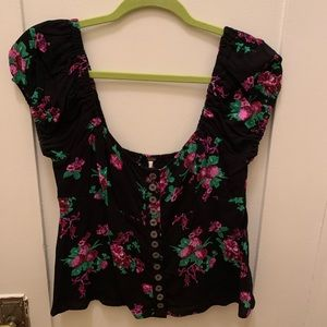 Free People Floral Babydoll Blouse - S